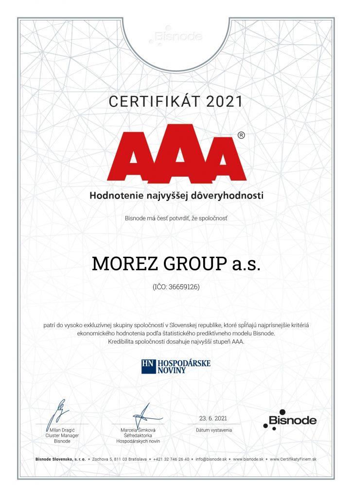 Certifikát AAA, hodnotenie najvyššej dôveryhodnosti. Ďakujeme.
